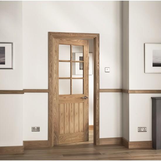Abbottsfield 6 Panel Clear Bevel Glazed Internal Oak Door