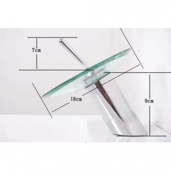 Chrome Finish Single Handle Mount Glass Waterfall Basin Mixer