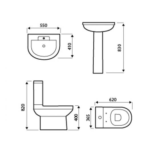 Kartell Code 550mm Basin & Pedestal 1TH