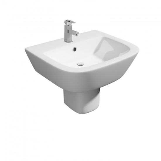 Kartell Project Round 530mm 1TH Basin And Semi Pedestal