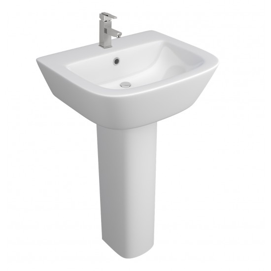 Kartell Project Round 530mm 1 Tap Hole Basin And Pedestal